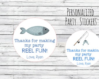 """Personalized  Fishing  Rod Pole Stickers """"REEL FUN"""" Party Favor Labels,  Fish, Thank You Labels, 1st Birthday, Goodie Bag Labels"""