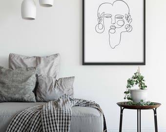 Modern Giclee Art Print, Scandinavian style, One line minimal art, Large print on canvas and paper, Minimalist favorite