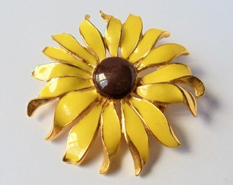 Vintage Enamel Sunflower Pin Brooch, Yellow Enamel Fancy Petals Brown Domed Center Gold Tone flower Brooch, Floral Figural Brooch, 1970s'