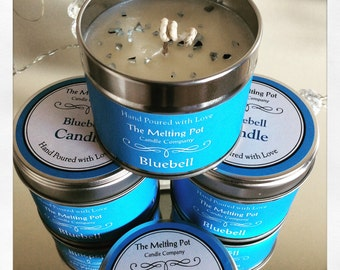 Bluebell tin candle
