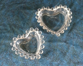 Vintage Imperial Candlewick Heart Shaped Nesting Dishes, Set of 2
