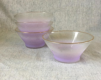 Vintage West Virginia Orchid Blendo Glass Salad Bowls, Set of 4, Purple or Lavender Blendo Glass