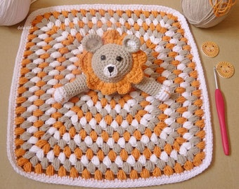 Of attachment of crochet with lion baby handmade blanket.