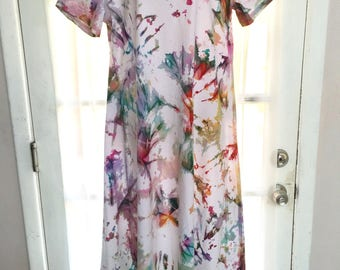 Short Sleeve Long X-Large 100% Cotton Sun-Dyed, Tie-Dyed Dress