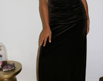 M 90's Brown Velvet Stretchy Ruched Spaghetti Strapped Maxi Gown Size Medium