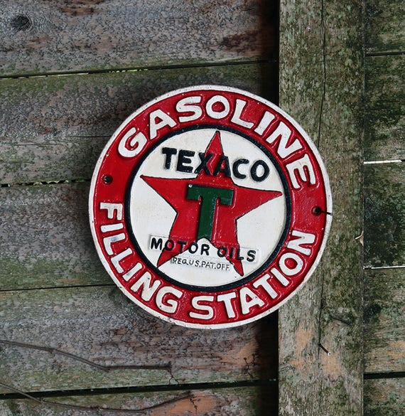 Texaco Motor Oils Gasoline Filling Station Cast Iron Vintage Style Sign Hand Painted Collectible Memorabilia Industrial