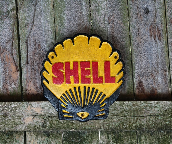 """Vintage Style Shell Motor Oil """"Seashell"""" Cast Iron Metal Advertising Plaque Sign London 1937"""