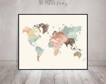 World map print etsy world map print watercolor travel map large world map world map watercolor pastel gumiabroncs Gallery
