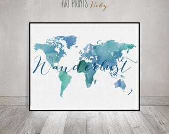 Wanderlust, World map watercolor print, world map poster, travel map watercolor, typography art, digital watercolor print, ArtPrintsVicky.