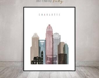 Charlotte art print, Charlotte skyline poster, Wall art, housewarming gift, Travel decor, Travel gift, distressed art, ArtPrintsVicky