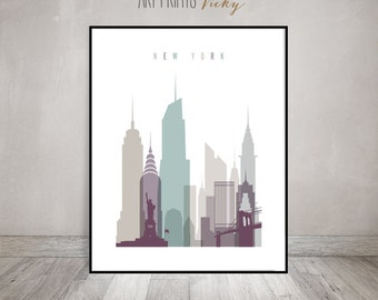 New York Wall Art Print New York City Skyline Poster | ArtPrintsVicky.com