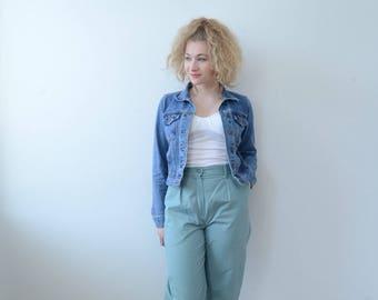 w 28 vintage mint high waist straight leg trousers