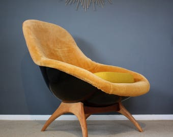 SOLD: Space Age Lurashell Gemini Mid Century Egg Chair Retro Vintage 50s  60s 70s