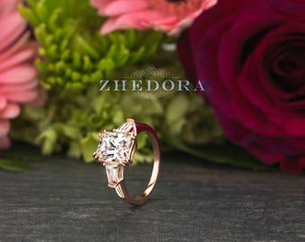 Radiant Cut Baugette Engagement Ring 14K/18k Rose Gold, Moissanite Radiant Cut Ring , White Sapphire Radiant  Ring, Radiant Cut Wedding Ring