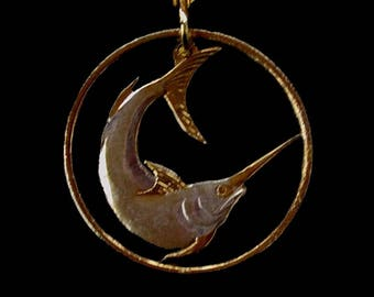Singapore Swordfish Handmade Fish Fishermans Cut Coin Pendant Necklace - Singapore 20 cents - Gold and Silver Plated