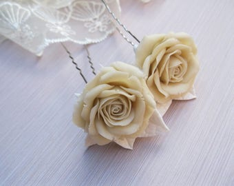 Summer wedding hair pins Ivory rose hair piece Classic wedding hair accessories Bridal hair flower Wedding accessories Flower hair pins rose