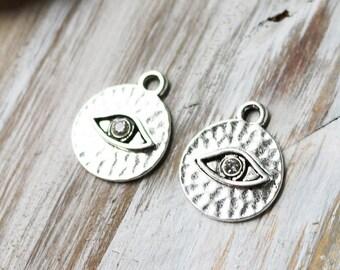Set of 5, Evil Eye Charm, Eye Charm, Silver Eye, Rhinestone Eye Charm, Body Part Charm,