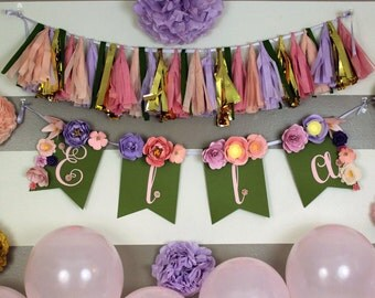 Enchanted Floral Banner with Green Flags and Pink and Purple Flowers for Birthday Parties, Baby Showers, and Weddings