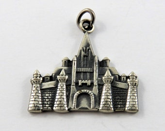 Four Tower English Castle Sterling Silver Charm or Pendant.