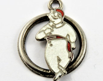 Enameled Bonhomme Mascot for Quebec Winter Carnival Sterling Silver Charm of Pendant.