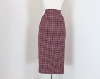 "1950s 60s Skirt - Plaid Midi Pencil Skirt - Red White Blue Check - Pockets - Mad Men Style - Vintage - Size Extra Small - Small 26"" Waist"