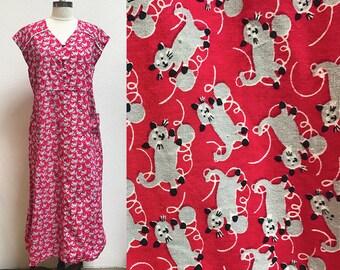 1950s Novelty Cat Print Cotton Dress
