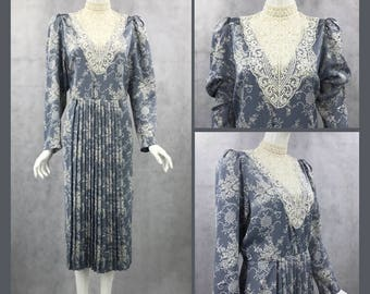 Scott Mcclintock Vintage 80s blue silk dress with french lace