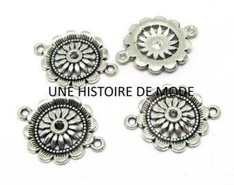 4 spacer flower rosettes sunflowers silver-plated antiqued 29 x 22 mm - flower connector - flower charms