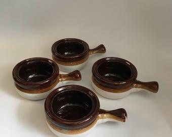 French Onion Soup Bowl, Vintage Stoneware Crock, Brown Glaze, Ovenproof Bowl, Handle bowl, Country kitchen, Set of 4, Cabin decor,