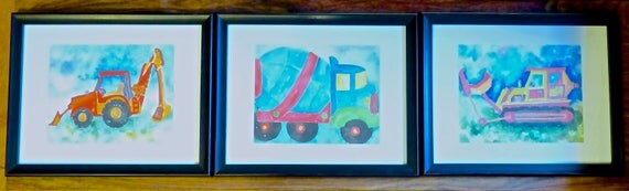 TRIO of GICLEE PRINTS ~ Three Framed Prints Of Big Trucks ~ Perfect For Little Boy's Room or Nursery ~ Watercolor Prints by Nancy Boecker