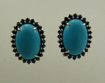 Turquoise Oval Shape and Blue Sapphire Earring with Sterling Silver Omega Backs