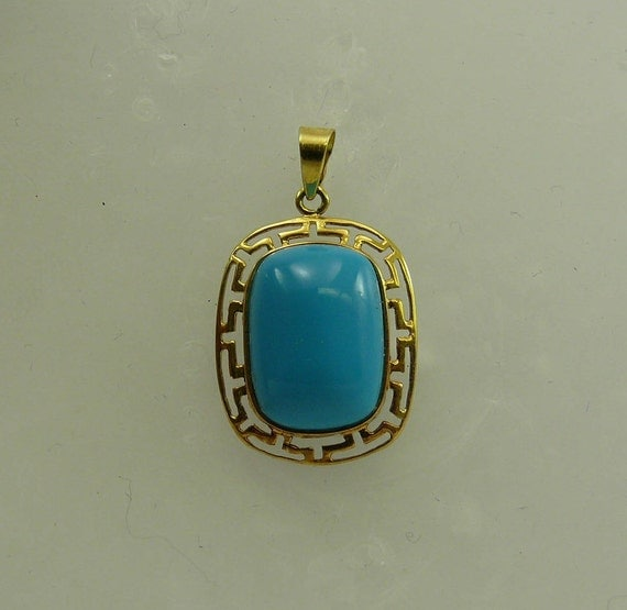 Reconstituted 13.6 x 9.7mm Turquoise Pendant, 14k Yellow Gold