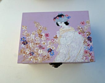 Jewelry, Geisha, double compartment wooden box