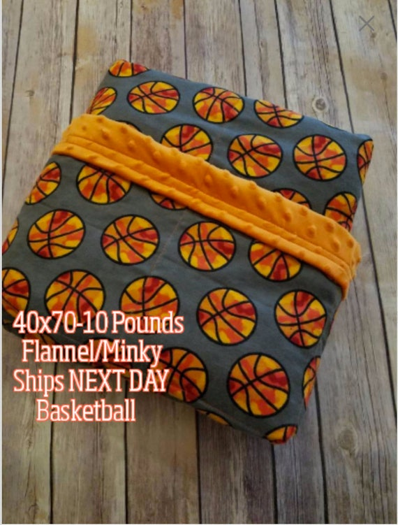 Weighted Blanket, 10 Pound, Basketball, Orange Minky, 40x70, READY TO SHIP, Twin Size, Adult Weighted Blanket, Next Business Day To Ship