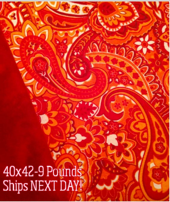 Paisley, Moroccan, 9 Pound, WEIGHTED BLANKET, Ready To Ship, 9 Pounds, 40x42 for Autism, Sensory, ADHD, Calming
