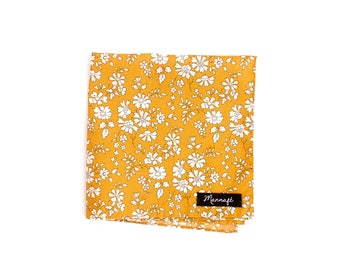 "Pocket square, Pocket square, liberty ""Capel"" mustard, accessory, wedding"