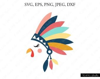 Turkey SVG, Thanksgiving Turkey Svg, Turkey Clip Art, Turkey Face SVG, Thanksgiving SVG, Cricut, Silhouette Cut File Chevrons