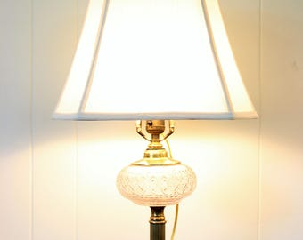 Vintage Pressed Glass Oil Font Converted to Electric Marble Base Brass Table Lamp