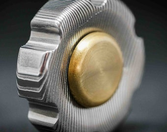 RARE:  The  Knob in Damasteel Fidget Spinner in Damasteel Parallel DS93X  - Very Expensive Metal! Acid Etched or Heat Treated!