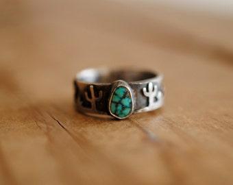 Desert Scene & Turquoise Ring | Size 7.25