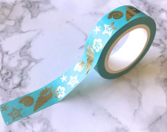 Turquoise & Gold Foil Sea Shell Washi Tape // Decorative Paper Masking Drafter Planner Scrapbooking Tape
