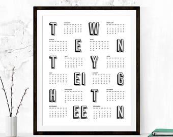 Calendar Printable, 2018 Calendar, 2018 Calendar Printable, Calendar Poster, 2018 Wall Calendar, Wall Calendar, Minimalist Calendar Poster
