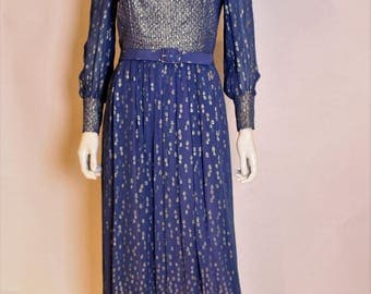 A vintage 1970s Hardy Amies Blue and Gold Gown S - M