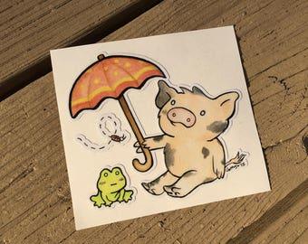 "Vinyl Decal Cute Little Pig ""Umbrella"" Piggy Die Cut Art Indoor/Outdoor Sukoshi Buta Mini Pigxel Art"