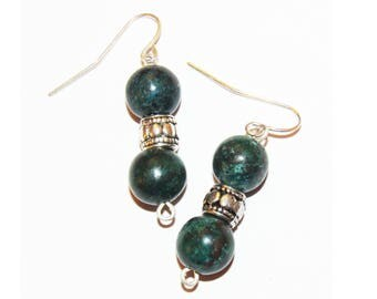 Green Turquoise Round Beaded Silver Handmade Earrings 2T-1EAX-IIYT