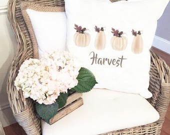 Harvest Pillow Cover - Pumpkin Pillow Cover - Farmhouse Style - White Pumpkins Pillow Cover - Harvest Pumpkins Fall pillow cover