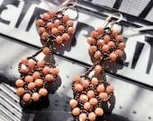 Vintage style beaded earrings, Retro dangling earrings, Light salmon metallic dark bronze earrings, 14kt gold filled ear hooks, Gift for her