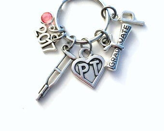Graduation Gift for PT Keychain, 2017 2018 Physical Therapist Key Chain, Therapy Keyring for her women letter initial Scroll Crutches Crutch