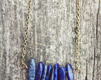 Lapis Lazuli Necklace, Lapis Blue, Trendy Necklace, Lapis Necklace, Minimal Necklace, Birthstone Necklace