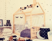 Toddler bed FULL/ Double size, frame bed, baby room kids nursery bed, montessori kids teepee, wooden bed, home bed, bed house, gift &SLATS